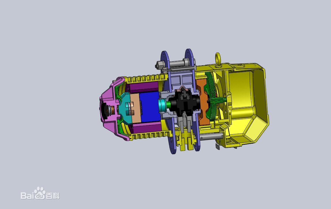 电机轴线垂直于卷筒轴线的电动葫芦采用蜗轮传动装置,宽度方面尺寸大